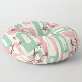 Retro Mid Century Modern Abstract Pattern 222 Dusty Rose and Pastel Green Floor Pillow