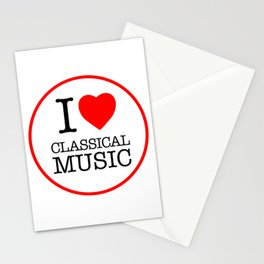 I Love Classical Music, circle Stationery Cards
