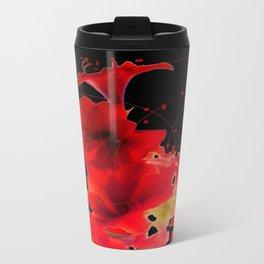 Festive Red Amaryllis on Black  Travel Mug
