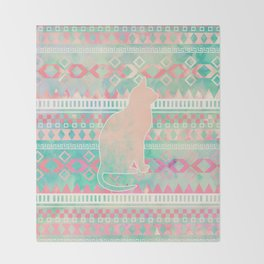 Whimsical Cat, Pink Turquoise Girly Aztec Pattern Throw Blanket