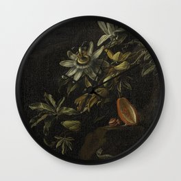 Still Life with Passionflowers - Elias van den Broeck (1670 - 1708) Wall Clock