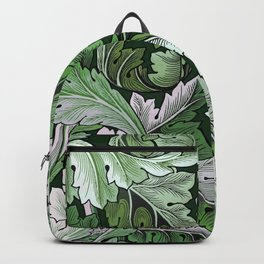 Art Nouveau William Morris Green Acanthus Leaves Backpack