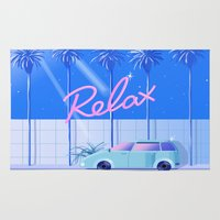 honda Area & Throw Rugs featuring Relax (Blue) by Yoko Honda