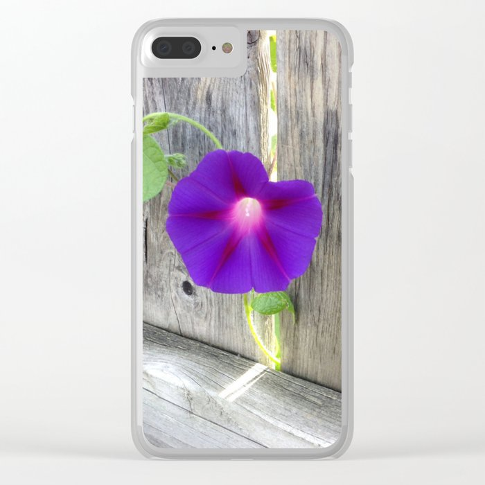 Flower | Flowers | Fence with Purple Flower Clear iPhone Case