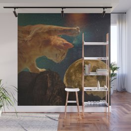 Cat hunting the moon Wall Mural