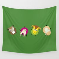 farm Wall Tapestries featuring Rolling farm by Fairytale ink