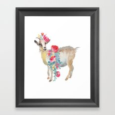 goat with flower crown Framed Art Print