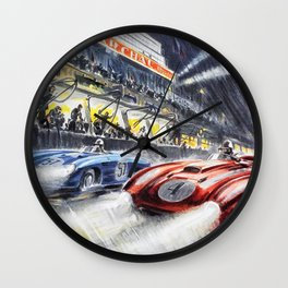 1954 Le Mans Auto Racing Advertisement Vintage Poster Wall Clock
