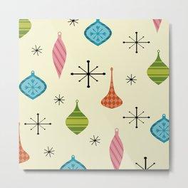 Mid Century Modern Christmas Ornaments Metal Print