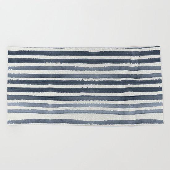 Simply Shibori Stripes Indigo Blue on Lunar Gray Beach Towel