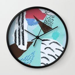 pastels paper collage Wall Clock