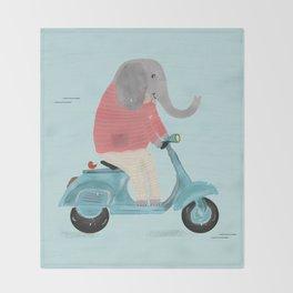 elephant scooter Throw Blanket