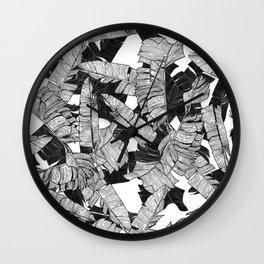 Modern Black and White Tropical Banana Leaves Wall Clock