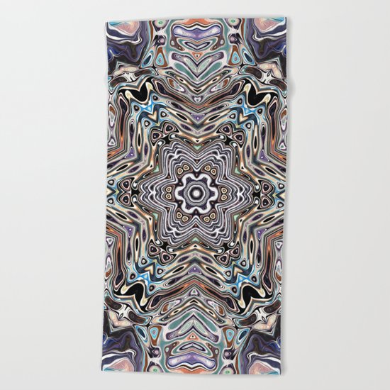 Colorful Kaleidoscopic Abstract Beach Towel