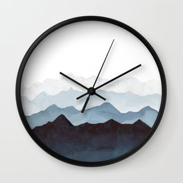 Indigo Mountains Landscape Wall Clock