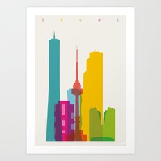 Shapes of Seoul accurate to scale Art Print
