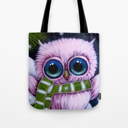 HOLIDAY TINY PINK OWL with 1ST GREEN SCARF Tote Bag