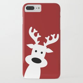 Reindeer on red background iPhone Case