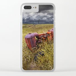 Abandoned Farm Tractor on the Prairie Clear iPhone Case