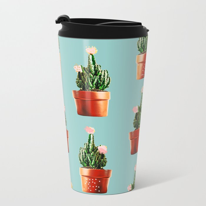 Cactus in Copper Pots #society6 #decor #buyart Metal Travel Mug