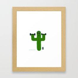Gym Bro Cactus Framed Art Print