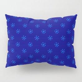 Brandeis Blue on Navy Blue Snowflakes Pillow Sham