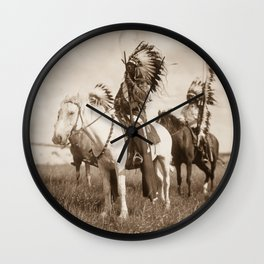 Sioux chiefs by Edward S Curtis 1905 Wall Clock