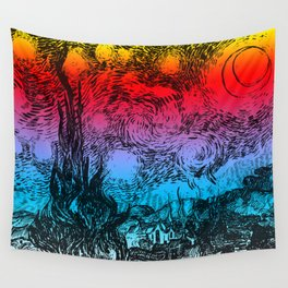 Rainbow Starry Night Wall Tapestry