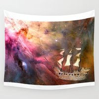 pirate ship Wall Tapestries featuring Space Ship by Creative Lore