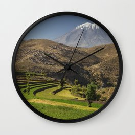 Inca garden and active volcano Misti in Arequipa Peru Wall Clock