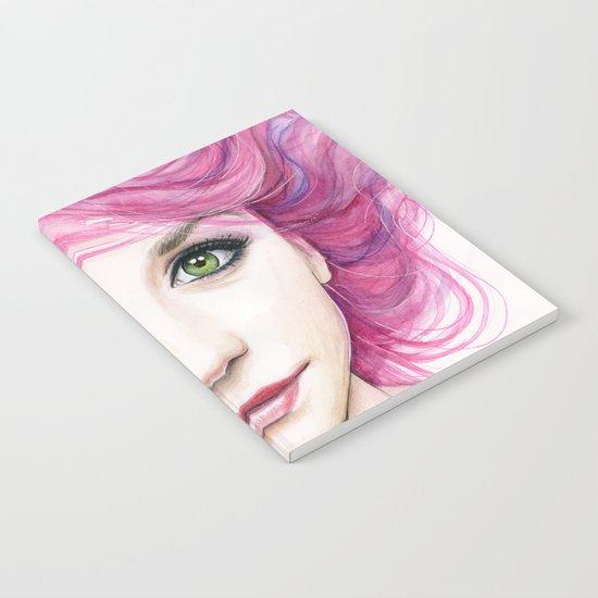 Pink Hair Green Eyes Beautiful Girl Notebook