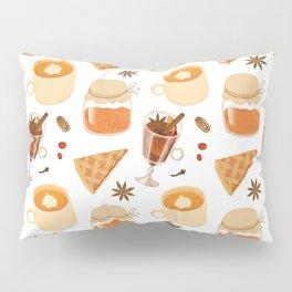 Sweet Orange Brown Coffee Pie Illustration Pillow Sham