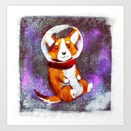 Space Corgi - Pink Art Print