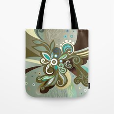 Floral curves of Joy, olive Tote Bag