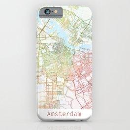 Amsterdam Map Art Watecolor by Zouzounio Art iPhone Case