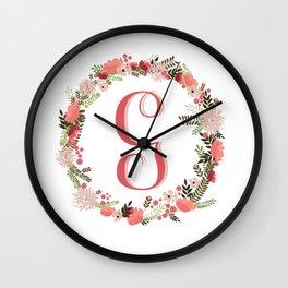 Personal monogram letter 'G' flower wreath Wall Clock