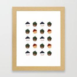 Bears in Hats Pattern Framed Art Print