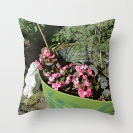 Sun kissed Garden Angel and Begonias Throw Pillow