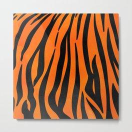 Wild Orange Black Tiger Stripes Animal Print Metal Print