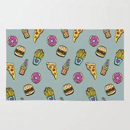 Fast Food Heaven Illustrated Pattern Rug
