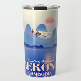 Mekong Cambodia vacation poster. Travel Mug