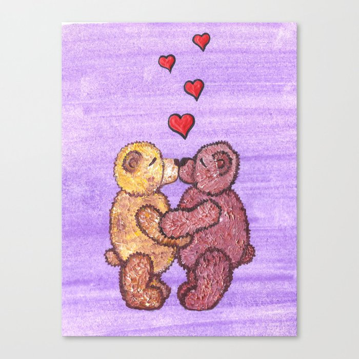 Bears in love Canvas Print