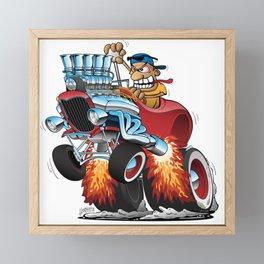 Highboy Hot Rod Race Car Cartoon Framed Mini Art Print