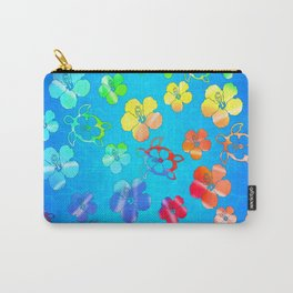 Tie Dye Honu And Hibiscus Carry-All Pouch