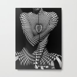 0622-JAL Heart Shape Pattern on Breasts and Nude Body Abstracted by Optical Patten Metal Print