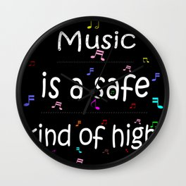 Music is a safe Famous Guitars Inspirational Motivational Quotes Wall Clock