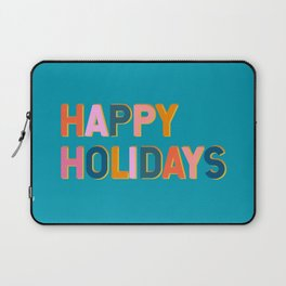 Colorful Happy Holidays Typography Laptop Sleeve
