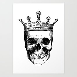 Skull King | Skull with Crown | Black and White | Art Print