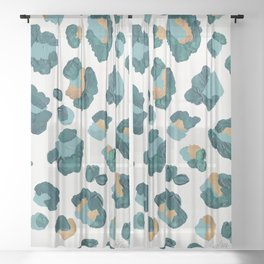 Leopard Print – Teal & Copper Sheer Curtain