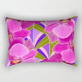 Pink & Fuchsia Purple Art Deco Orchids Art Rectangular Pillow